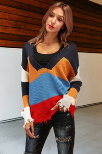 Chic Casual Sexy Deep V Collar Loose Strip Long Sleeve Sweater - lolabuy