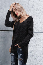 Chic Casual Loose Plain V Collar Long Sleeve Thermal Sweater - lolabuy