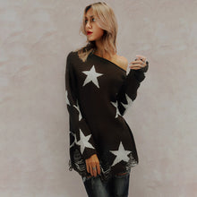 Chic Casual Loose Star Off Shoulder Long Sleeve Sweater - lolabuy