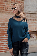 Chic Casual Elegant Loose Plain Halter Long Sleeve Sweater - lolabuy