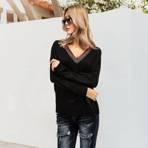 Casual Fashion Loose Strip Deep V Collar Long Sleeve Sweater - lolabuy