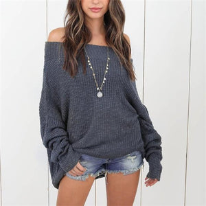 Chic Elegant Casual Loose Plain Off Shoulder Long Sleeve Sweater - lolabuy