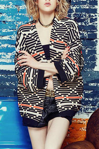 Fashion Casual Stylish Loose Strip Long Sleeve Jacket Cardigan - lolabuy