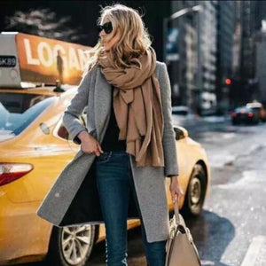 Stylish Casual Plain Rectangle Thermal Cape Scarf - lolabuy