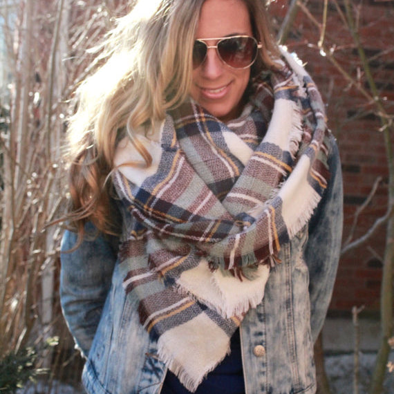 Stylish Casual Thermal Wool Spinning Plaid Square Cape Scarf - lolabuy