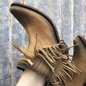 Elegant Casual Thermal Gradient Fringe Side Thick Heel Boots - lolabuy