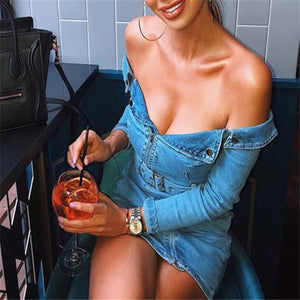 Denim Stylish Sexy Slim Plain Off Shoulder Zipper Long Sleeve Bodycon Dress - lolabuy