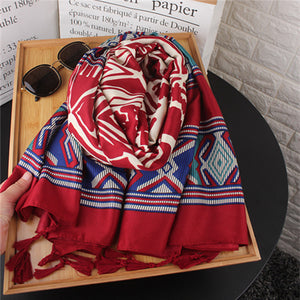 Ethnic Vacation Casual Fashion Rectangle Print Cape Scarf - lolabuy