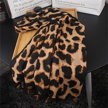 Casual Fashion Thermal Rectangle Leopard Print Fringe Bottom Cape Scarf - lolabuy