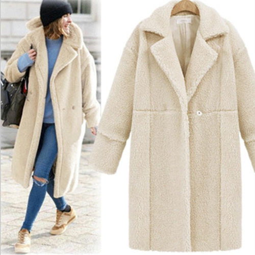Winter Warm Solid Long Cardigan Woolen Coat