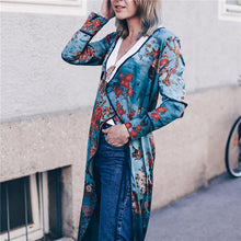 Vacation Stylish Elegant Slim Floral V Collar Long Sleeve Cardigan - lolabuy