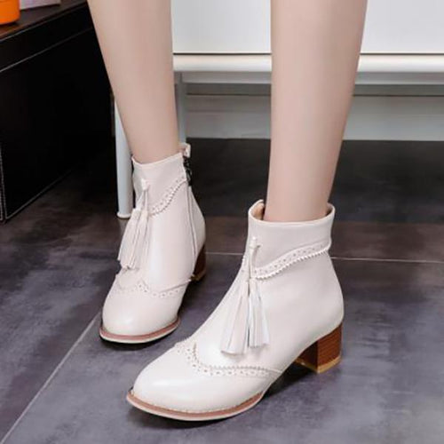 Vintage Martin Boots With Tassel Pointed Bare Boots Thick Ankle Boots - lolabuy