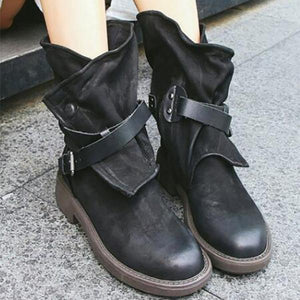 Retro Belt Buckle Ankle Boots - lolabuy