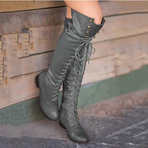 Vintage Classic Strappy Long Boots - lolabuy