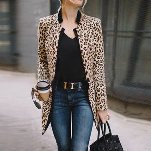 Elegant Individual Fashion Slim Leopard Print V Collar Longs Sleeve Suit Cardigan - lolabuy