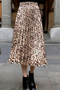 Lady Daily Chic Loose Leopard Print Elastic Waist Long Skirt - lolabuy