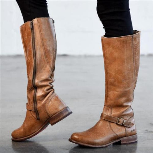 Formal Fashion Thermal Leather Zipper High Tube Boots - lolabuy