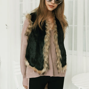 Elegant Fashion Casual Slim Fur Sleeveless Cardigan - lolabuy