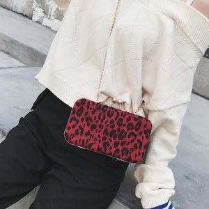 Lady Stylish Casual Rectangle Leopard Print Buckle Chain One Shoulder Bag - lolabuy