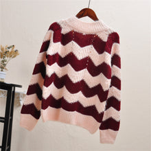 Casual Chic Loose Strip Thermal Long Sleeve Sweater - lolabuy