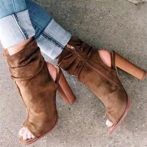 Elegant Fashion Suede Upper High Tube Thick High Heel Peep-Toe Boots - lolabuy