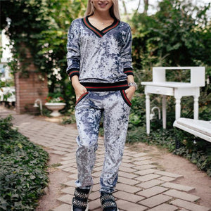 Casual Sport Thermal Slim Strip Suede Long Sleeve Top Pants Suit - lolabuy