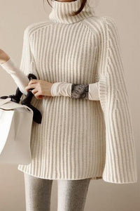 Business Office Fashion Slim Plain Off Shoulder Fork Long Sleeve Sweater - lolabuy
