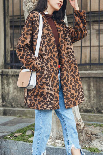 Stylish Nifty Casual Loose Leopard Print Long Sleeve Coat Cardigan - lolabuy