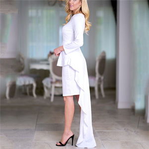 Elegant Fashion Slim Plain Long Sleeve Irregular Hem Bodycon Evening Dresss - lolabuy