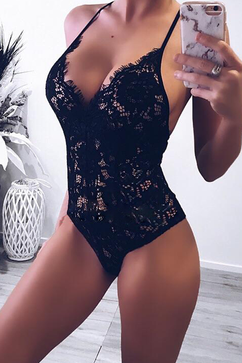 Sexy Chic Slim Plain Lace Sleeveless Brace Lingerie - lolabuy