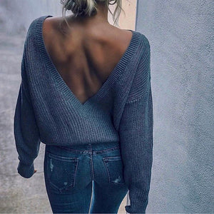 Sexy Stylish Casual Loose Plain Backless Long Sleeve Sweater - lolabuy
