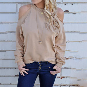 Casual Fashion Loose Plain Off Shoulder Long Sleeve Halter Hoodie Top - lolabuy