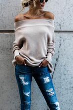 Sweet Fashion Loose Plain Off Shoulder Long Sleeve Sweater - lolabuy