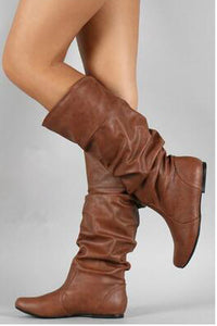 Lady Fashion Casual Leather High Tube Boots - lolabuy