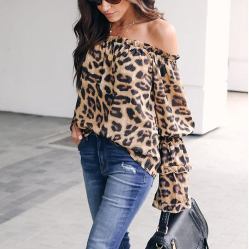 Leopard Printed Off Shoulder Flare Long Sleeve Sexy Blouses - lolabuy