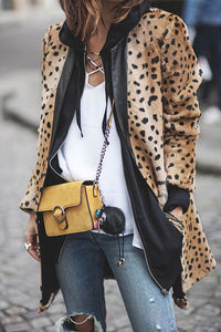 Lady Stylish Slim Leather Leopard Print Long Sleeve Jacket Cardigan - lolabuy