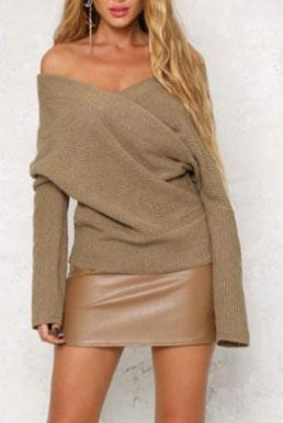 Sexy Off Shoulder Plain Cross Knit Sweater - lolabuy
