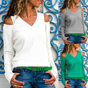 V Neck  Cutout  Plain Sweaters - lolabuy