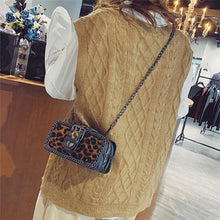 Nifty Casual Rectangle Leather Leopard Print Chain One Shoulder Bag - lolabuy