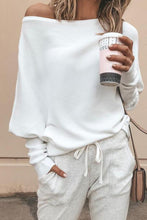 Sweet Fashion Casual Loose Plain Off Shoulder Long Sleeve Sweater - lolabuy