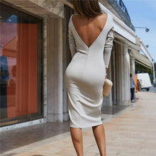 Elegant Business Chic Slim Plain Backless Long Sleeve Bodycon Dress - lolabuy