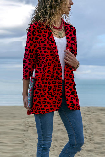 Elegant Fashion Lady Slim Leopard Print Long Sleeve Suit Cardigan - lolabuy