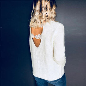 Sweet Casual Chic Loose Plain V Collar Long Sleeve Sweater - lolabuy