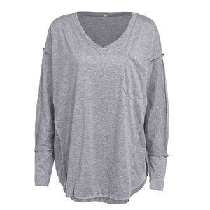 Casual Loose V Collar Plain Knit  Shirt - lolabuy