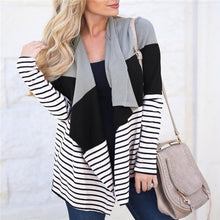 Lady Casual Vacation Loose Strip Long Sleeve Cardigan - lolabuy