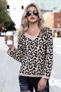 Sweet Fashion Casual Loose Leopard Print V Collar Long Sleeve Sweater - lolabuy