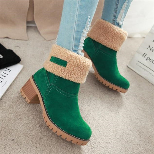Nifty Casual Fashion Thermal Plain High Tube Thick Heel Martin Boots - lolabuy