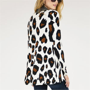 Lady Fashion Casual Loose Leopard Print Long Sleeve Cardigan - lolabuy