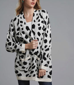 Sweet Fashion Casual Loose Cow Print Long Sleeve Cardigan - lolabuy