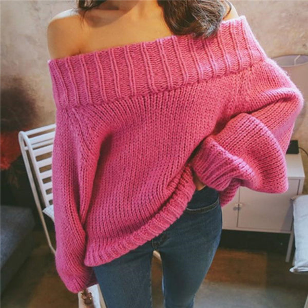 Sweet Nifty Casual Fashion Loose Plain Off Shoulder Long Sleeve Sweater - lolabuy